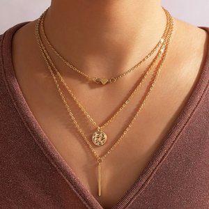 3/$20 New Layered Gold Boho Necklace